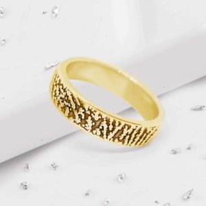 Fingerprint Band Ring in Gold