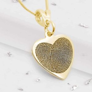 Gold Fingerprint Heart Pendant