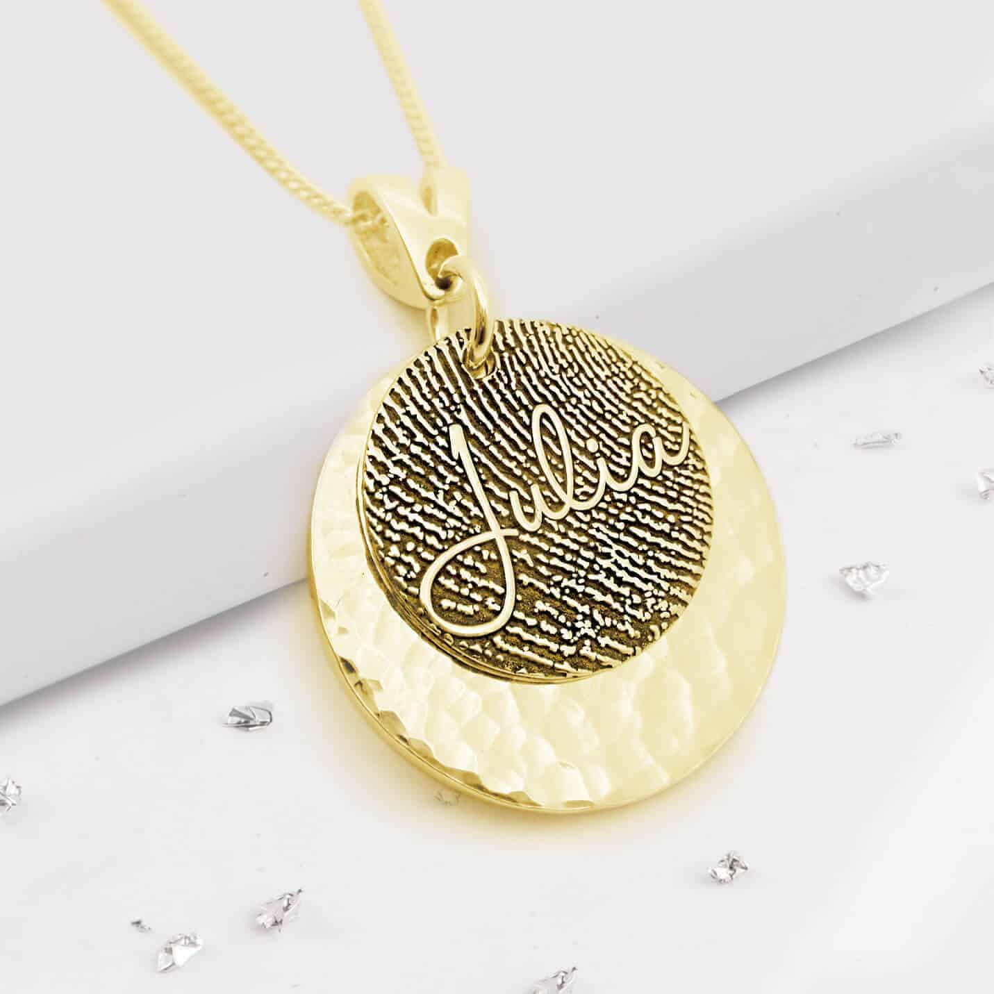 Gold fingerprint layered pendant