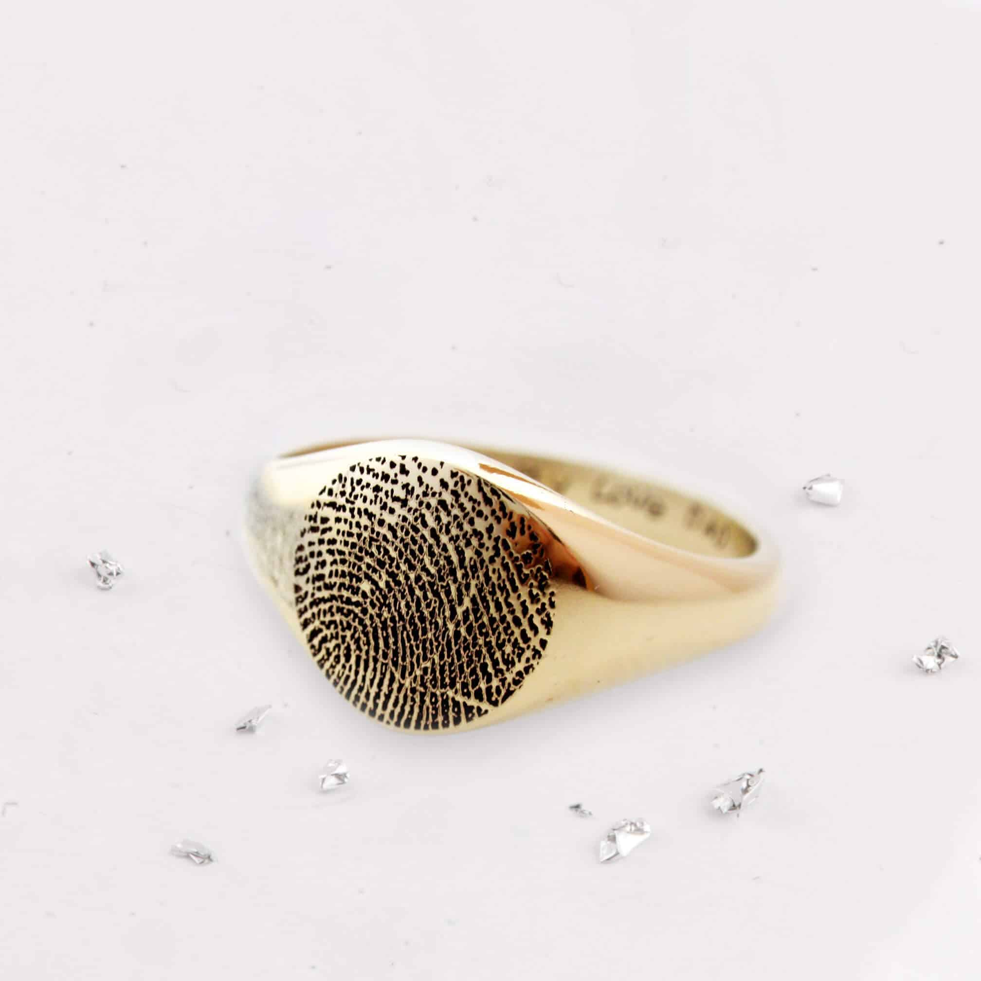 Gold fingerprint signet ring