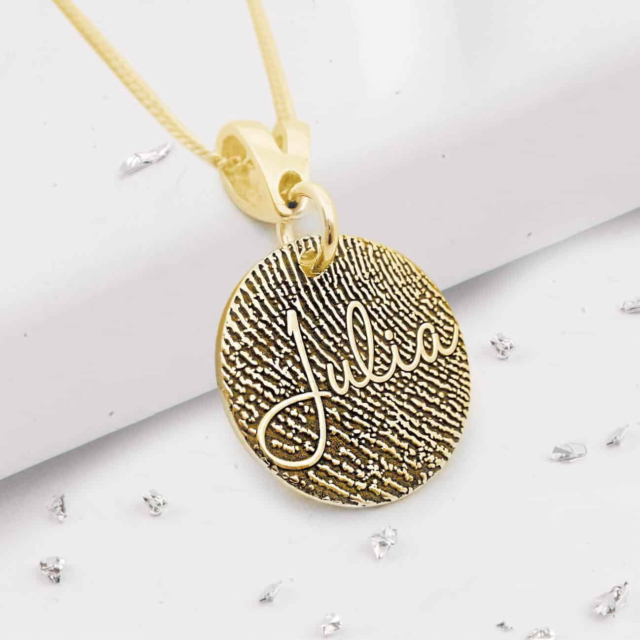Gold Small Round Fingerprint Pendant with Engraved Name