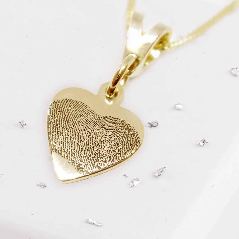 Small Gold Heart Pendant with Fingerprint Engraving