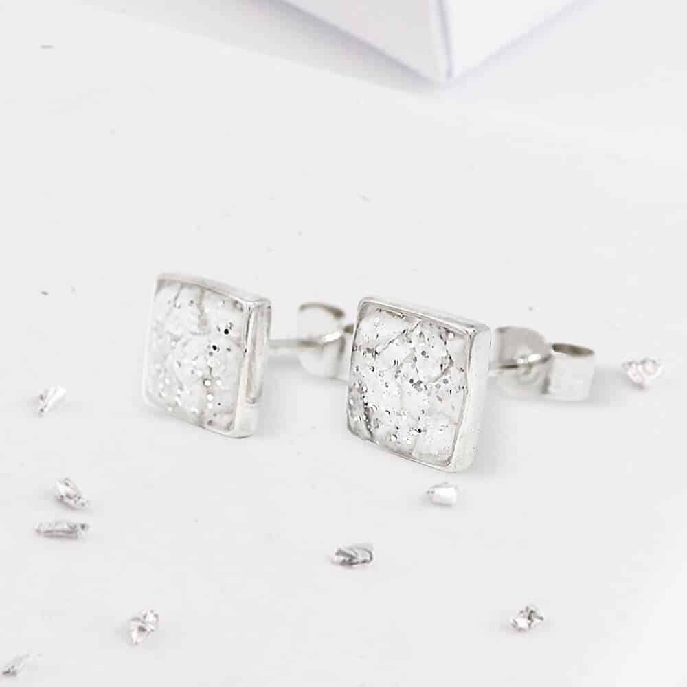 Small Sterling Silver Square Resin Inlaid Bezel Set Earrings