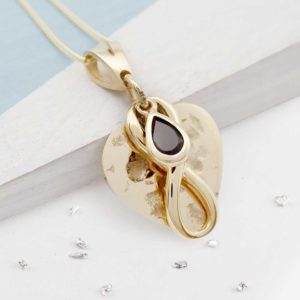 Imprinted Teardrop Birthstone Heart Pendant