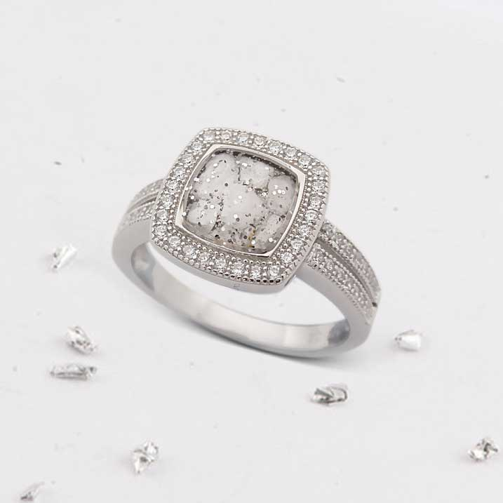 Square ashes or hair inlaid crystal halo ring