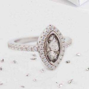 Marquis ashes or hair inlaid Crystal halo ring