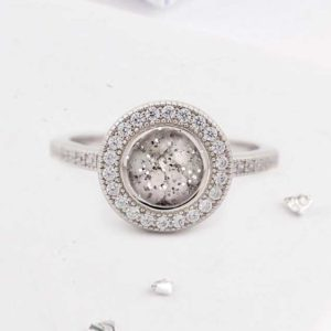 Round ashes or hair inlaid crystal halo ring