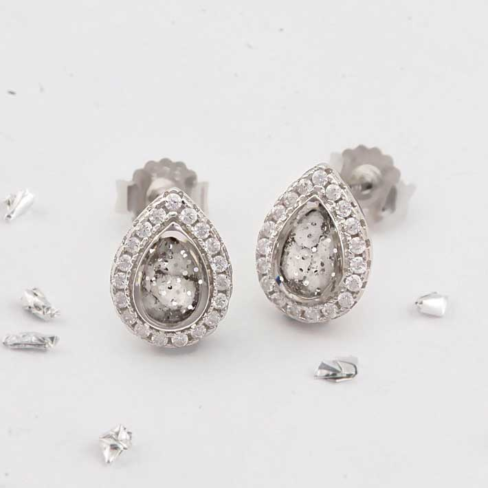Ashes or hair small crystal stud earrings