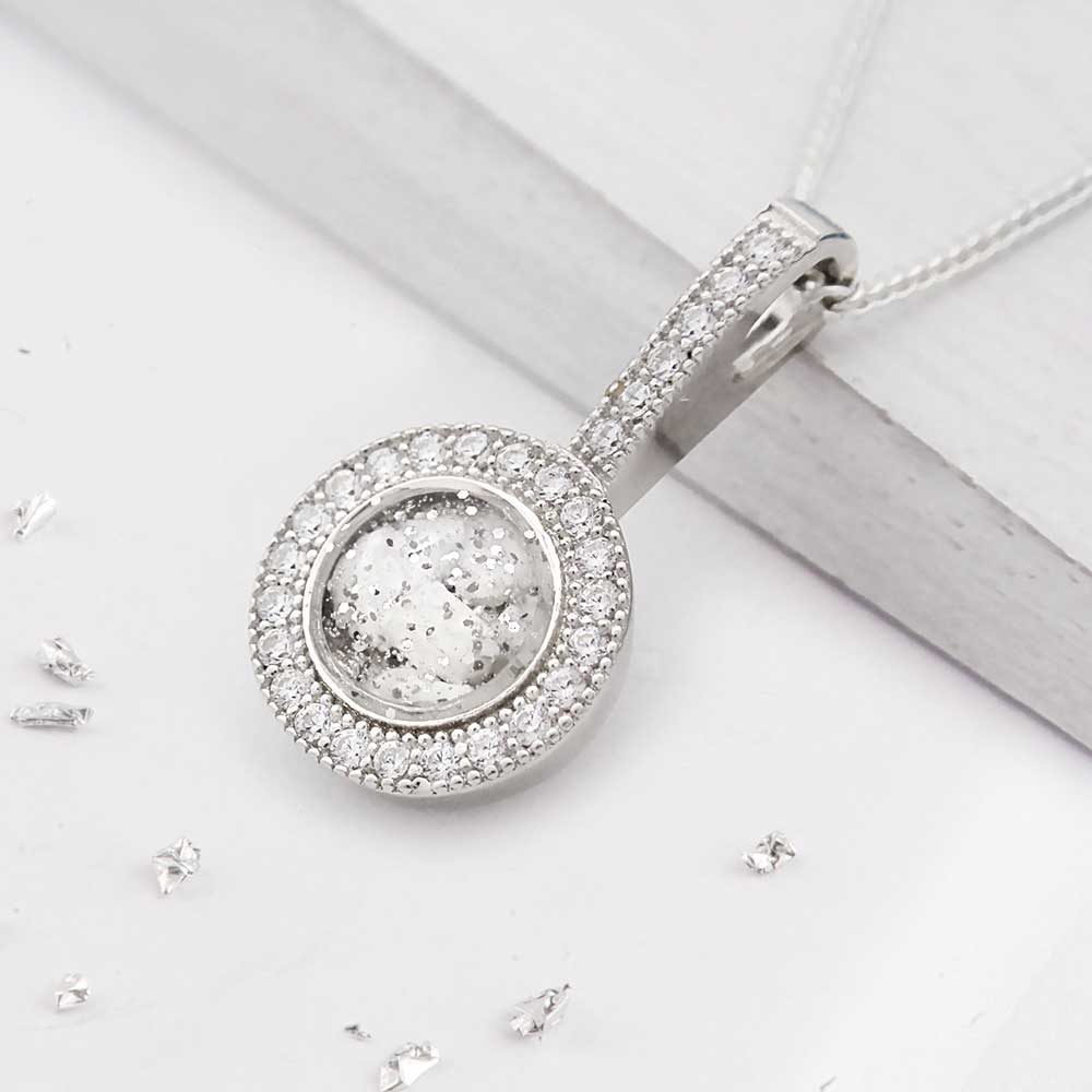 Small Round ashes or hair crystal pendant