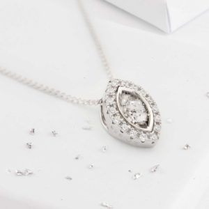 Small Marquis shaped hair or ashes crystal pendant