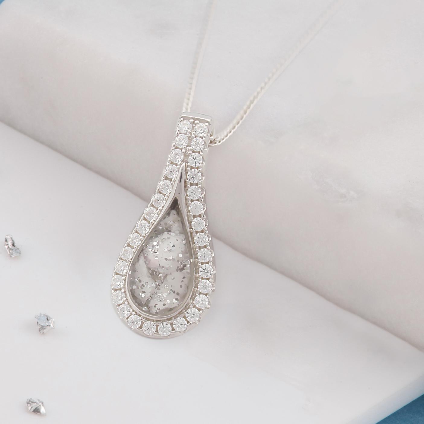 Organic medium teardrop ashes or hair crystal pendant