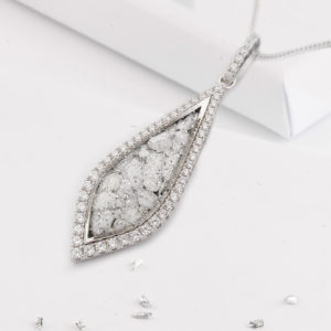 Large teardrop shaped ashes or hair crystal pendant