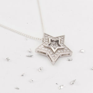 Ashes or hair inlaid Crystal Star pendant