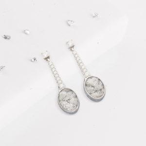 Ashes or hair crystal drop earrings